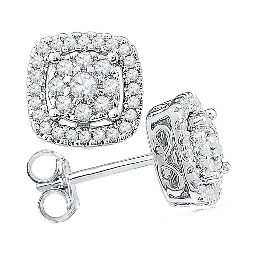 e6d8b8714 10kt White Gold Womens Round Diamond Framed Square Cluster Screwback  Earrings 1-2 Cttw - Fine Jewelry and Gemstones