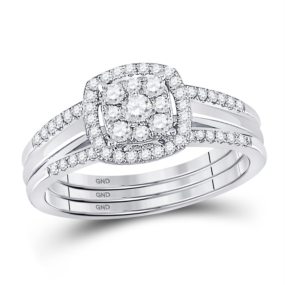 10kt White Gold Womens Round Diamond 3 Piece Bridal Wedding Ring