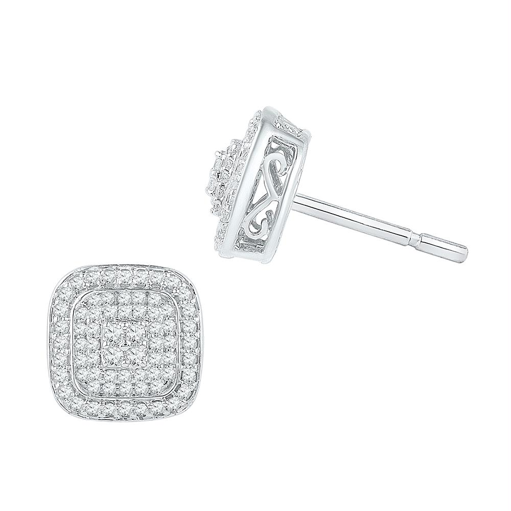 9e002fa1a 10kt White Gold Womens Round Diamond Cluster Square Screwback Earrings 5-8  Cttw - Fine Jewelry and Gemstones