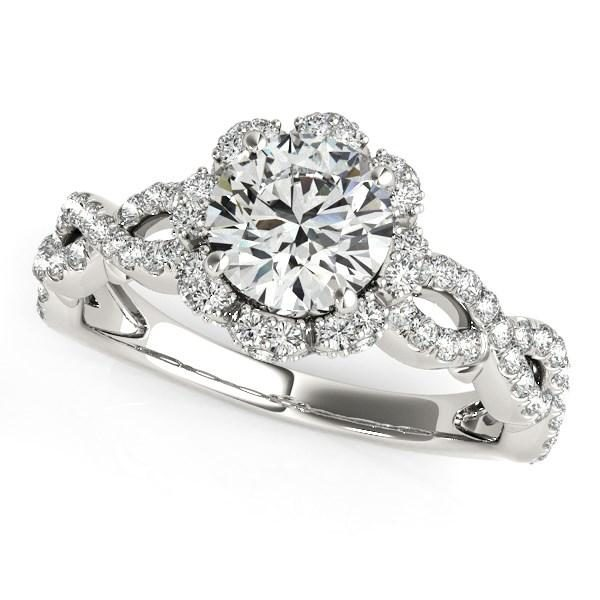 14k White Gold Flower Motif Split Shank Diamond Engagement Ring (1 5/8 cttw)