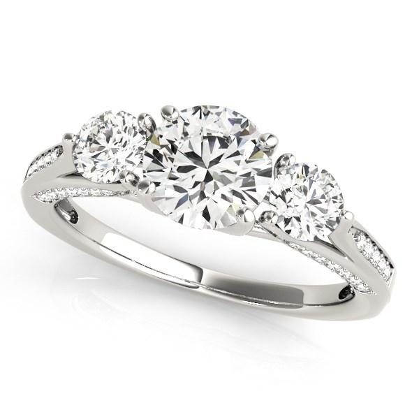 14k White Gold 3 Stone Style Round Diamond Engagement Ring (1 3/4 cttw)