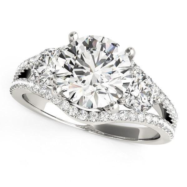 14k White Gold 3 Stone Split Pave Shank Diamond Engagement Ring (2 3/4 cttw)