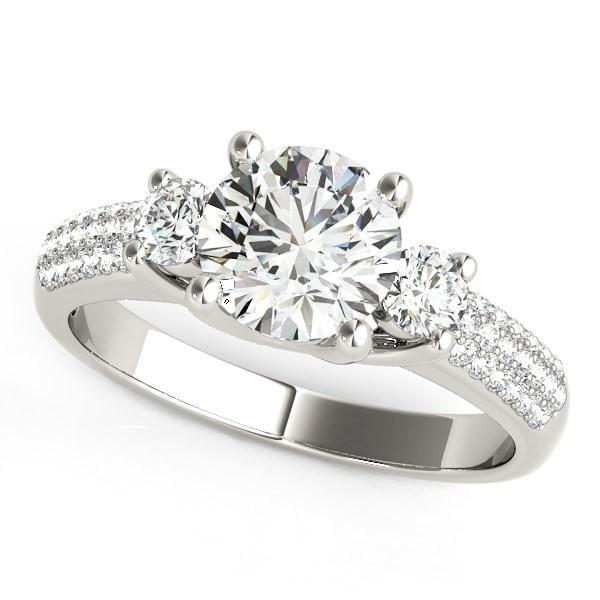 14k White Gold 3 Stone Pave Set Band Diamond Engagement Ring (1 7/8 cttw)