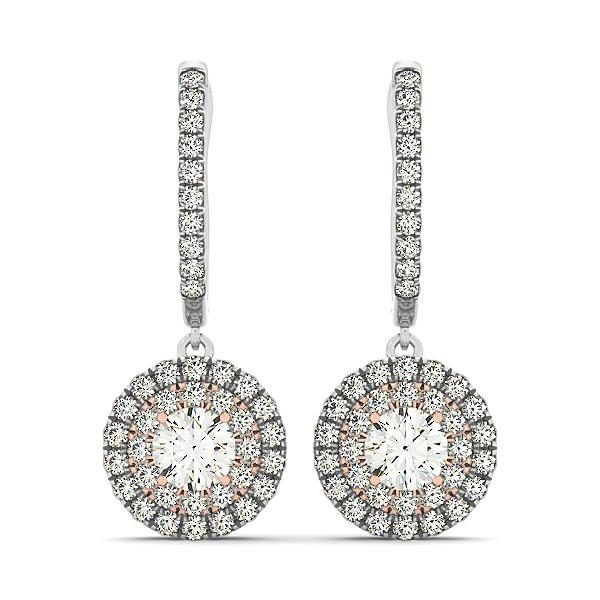 14k White And Rose Gold Drop Diamond Earrings with a Halo Design (3-4 cttw)