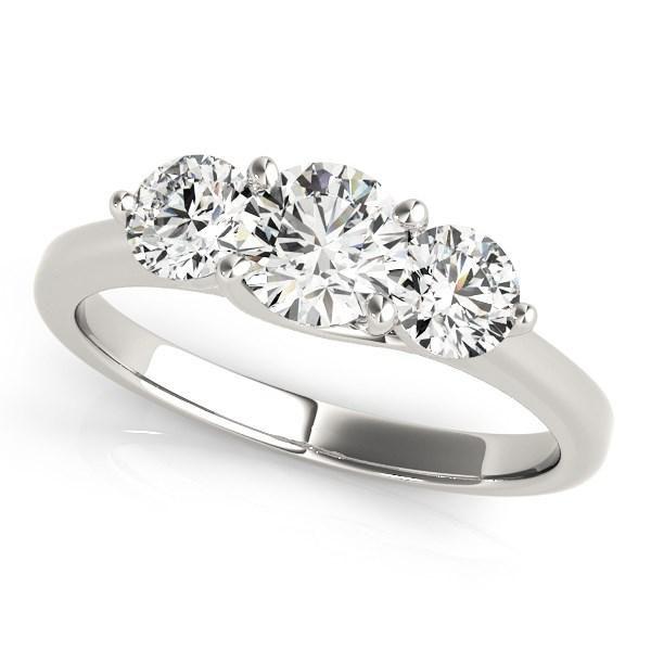14k White Gold Classic 3 Stone Round Diamond Engagement Ring (1 cttw)
