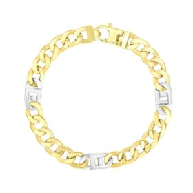 14k Two-Tone Gold Men's Bracelet with Curb Design Chain