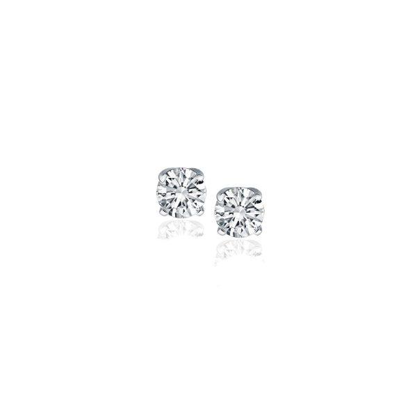 14k White Gold Diamond Four Prong Stud Earrings (1-4 cttw)