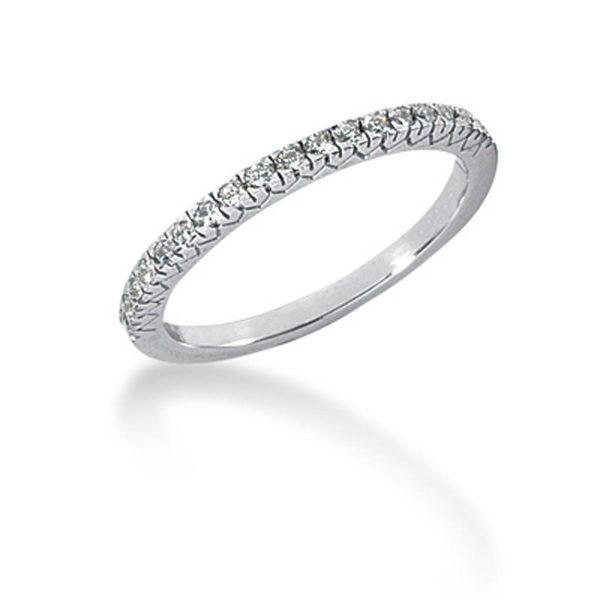 14k White Gold Engraved Fishtail V Pave Diamond Wedding Ring Band
