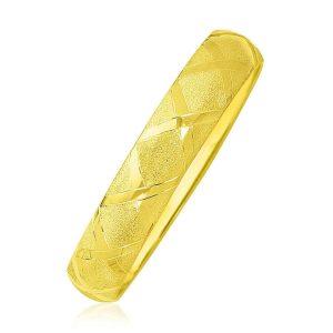 Yellow Gold Dual Textured Diamond Pattern Bangle