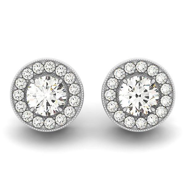 14k White Gold Round Diamond Halo Milgrain Border Earrings (3-4 cttw)