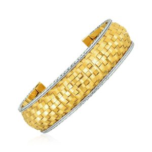 Cuff Bangle with Basket Weave Texture in 14k Yellow and White Gold