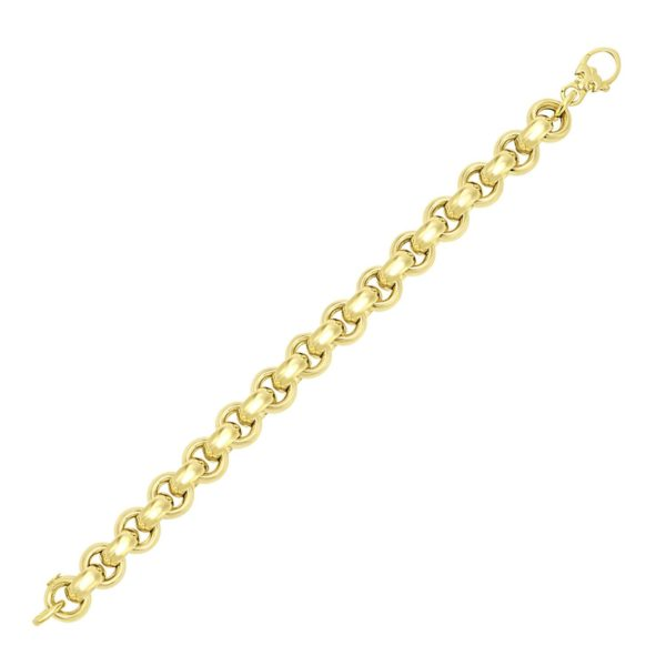 14k Yellow Gold Thick Smooth Rolo Style Bracelet