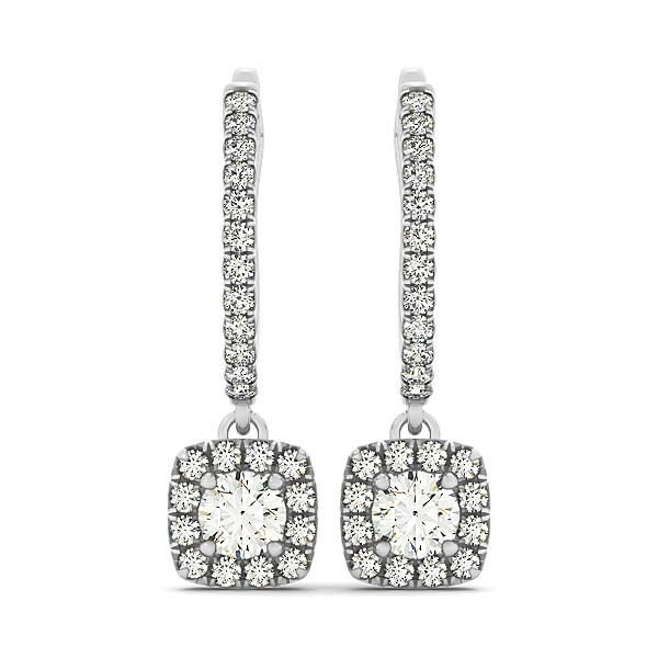 Cushion Shape Halo Style Diamond Drop Earrings in 14k White Gold (1-2 cttw)