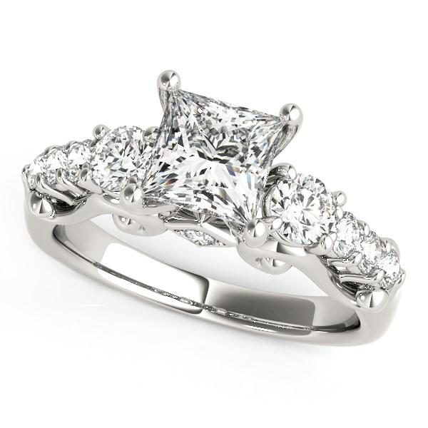 14k White Gold 3 Stone Antique Design Diamond Engagement Ring (1 3/4 cttw)
