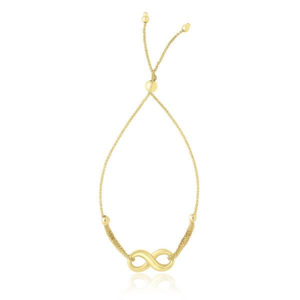 14k Yellow Gold Infinity Motif Adjustable Lariat Bracelet