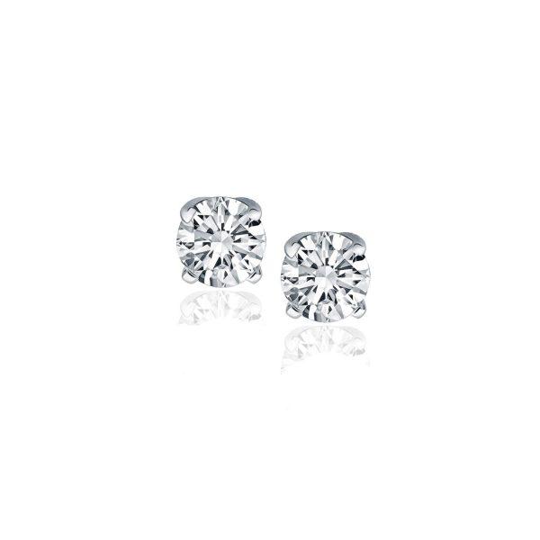 14k White Gold Diamond Four Prong Stud Earrings (1-2 cttw)