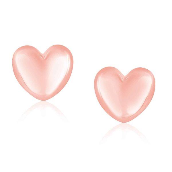 14k Rose Gold Puffed Heart Shape Shiny Earrings