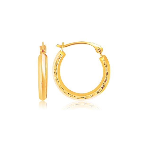 14k Yellow Gold Hoop Earrings with Textured Detailing