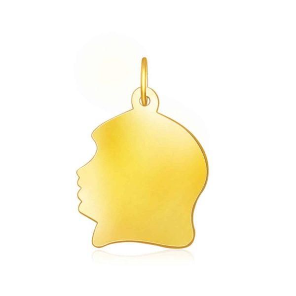 14k Yellow Gold Large Girl Head Charm