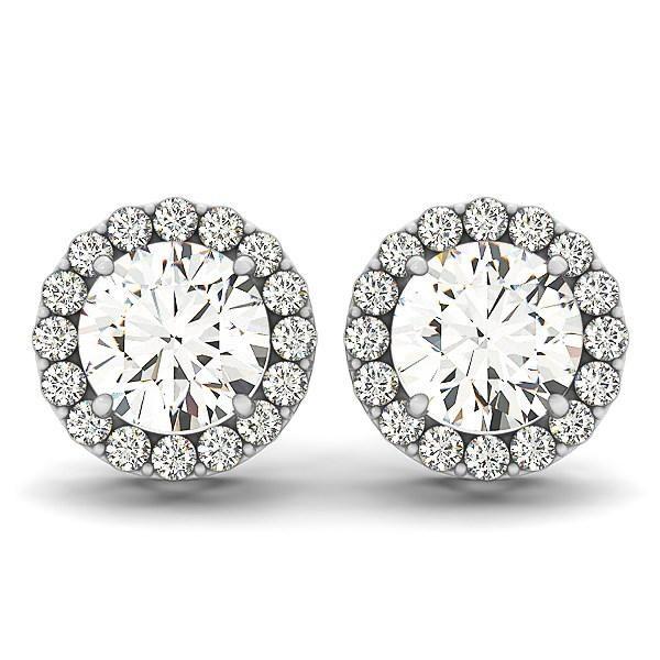 14k White Gold Four Prong Round Halo Diamond Earrings (1 1-6 cttw)