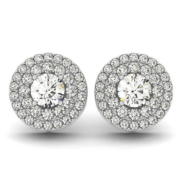 14k White Gold Double Halo Round Diamond Earrings (1 1-4 cttw)