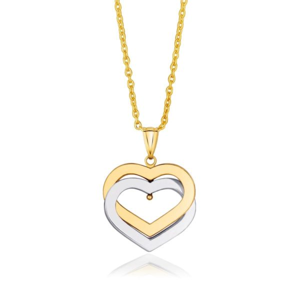 14k Two-Tone Gold Intertwined Hearts Pendant