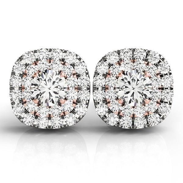 14k White and Rose Gold Cushion Shape Halo Diamond Earrings (3-4 cttw)