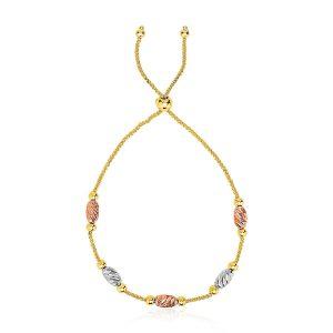 14k Tri-Gold Diamond Cut Oval Station Lariat Style Bracelet