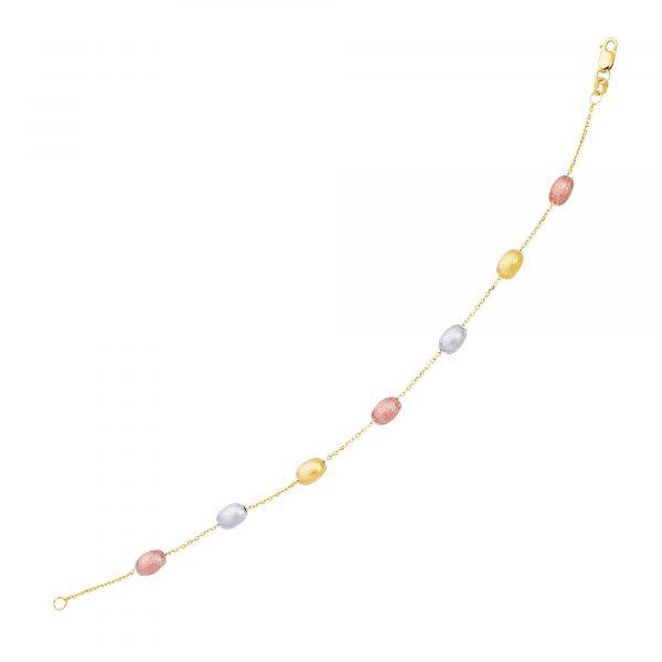 14k Tri-Color Gold Textured Pebble Stationed Bracelet