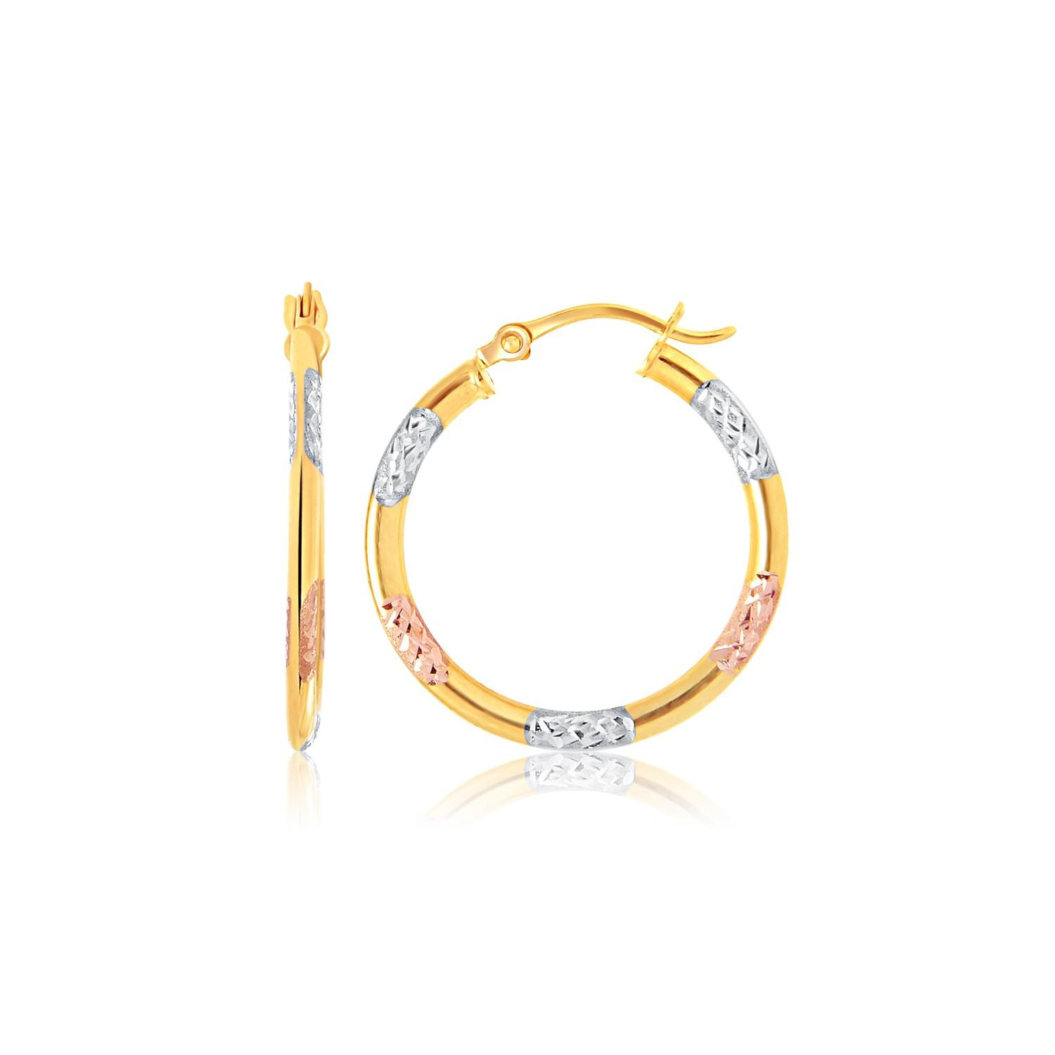 14k Tri-Color Gold Classic Hoop Earrings with Diamond Cut Details