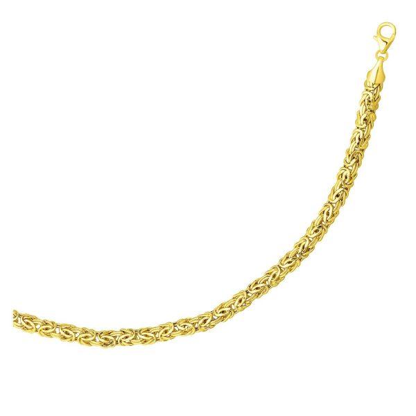 14k Yellow Gold Byzantine Link Shiny Bracelet