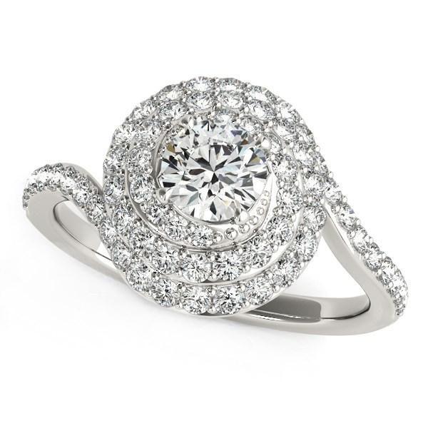 14k White Gold Round Diamond Spiral Design Engagement Ring (1 1/8 cttw)