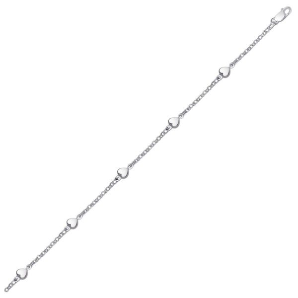14k White Gold Rolo Chain Bracelet with Puffed Heart Stations