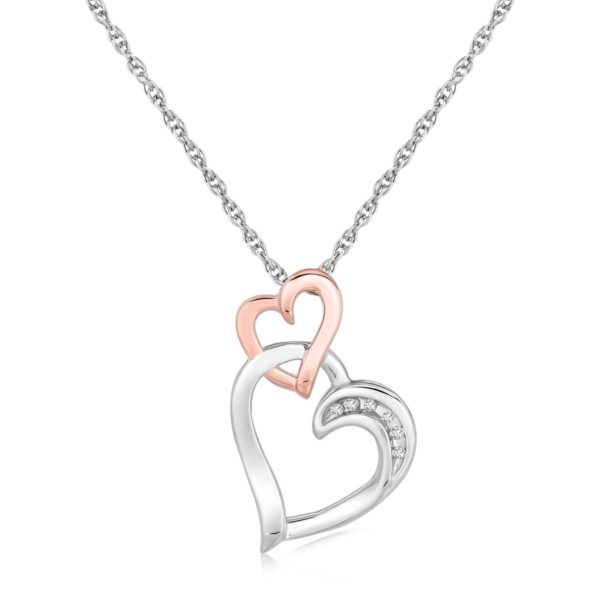 Sterling Silver Cascading Dual Heart Diamond Accented Pendant (.02 cttw)