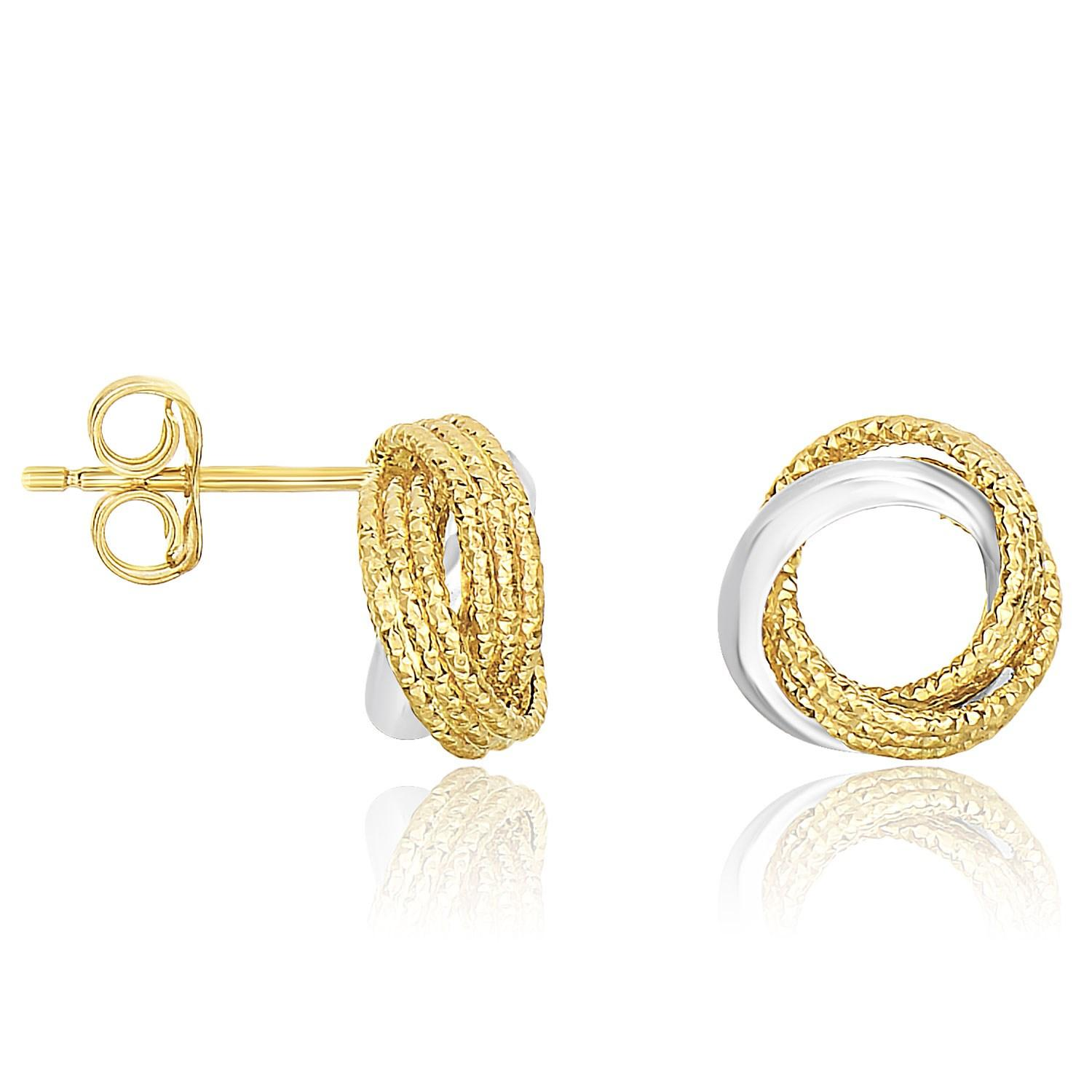 14k Two-Tone Gold Multi-Textured Open Circle Style Entwined Earrings