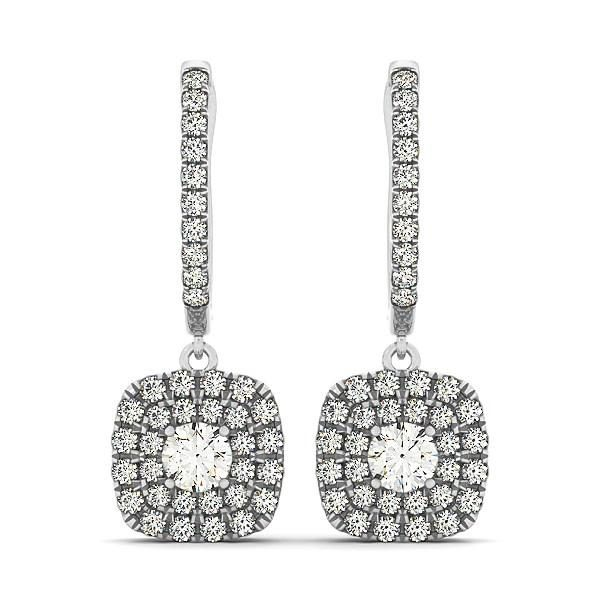 14k White Gold Double Halo Cushion Outer Shaped Diamond  Earrings (3-4 cttw)