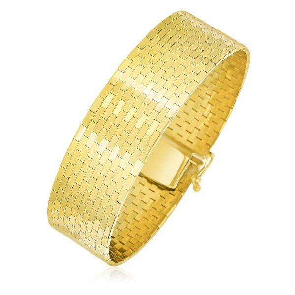 14k Yellow Gold Thick Omega Motif Brick Style Bracelet