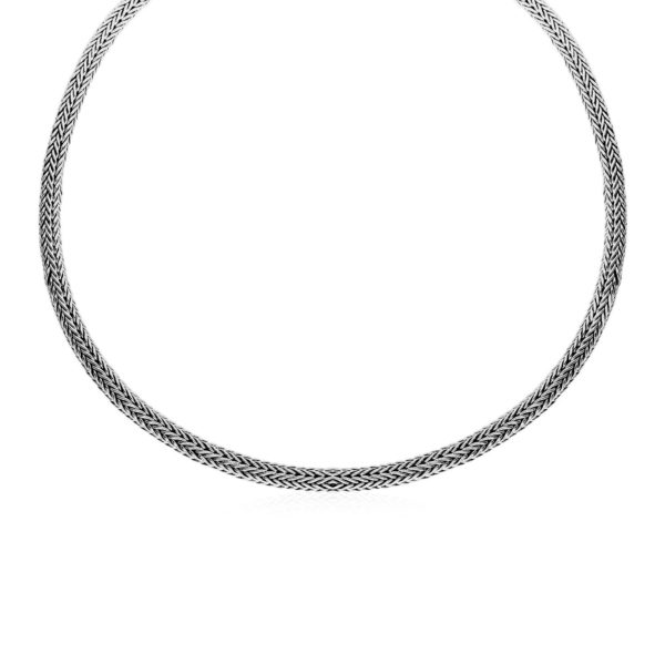 Wide Woven Rope Necklace in Sterling Silver