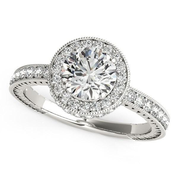 14k White Gold Milgrain Border Diamond Pave Engagement Ring (1 1/2 cttw)