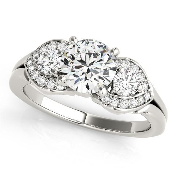 14k White Gold 3 Stone Diamond Engagement Antique Style Ring (1 3/8 cttw)