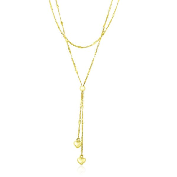 14k Yellow Gold Puffed Heart Lariat Double Strand Necklace