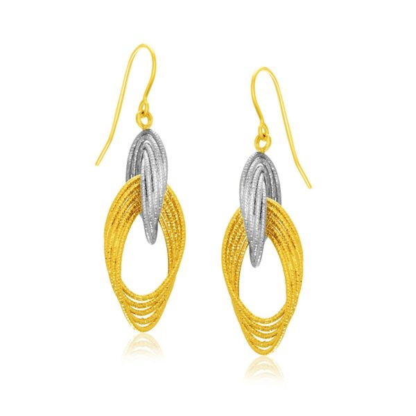 Two-Tone Gold Interlaced Multiple Row Earrings