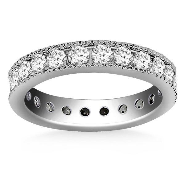 14k White Gold Antique Channel Set Round Diamond Eternity Ring