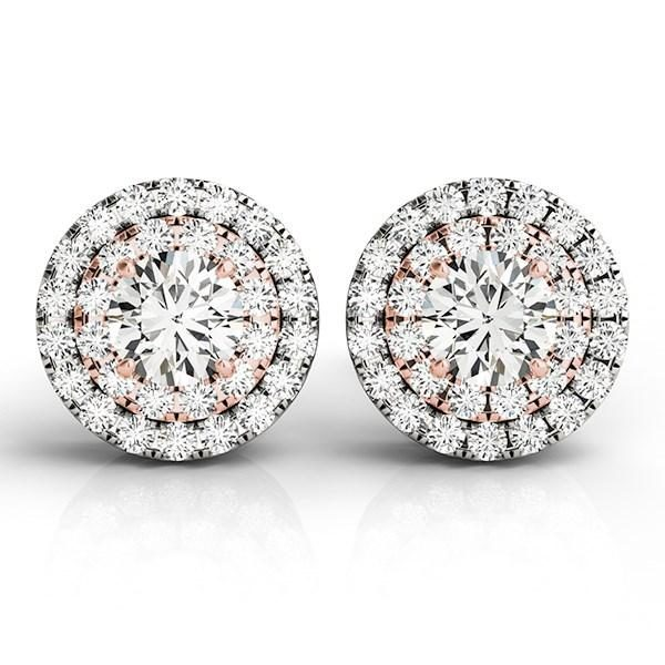 14k White and Rose Gold Round Halo Diamond Earrings (3-4 cttw)