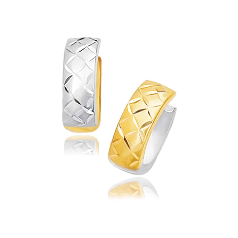 14k Two-Tone Gold Reversible Quilted Hinged Hoop Huggie Earrings