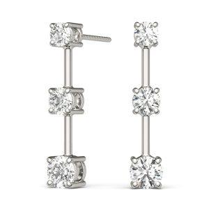 Three Stone Diamond Earring White Gold