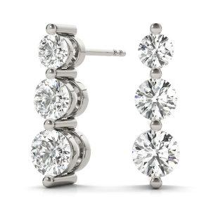 Three Stone Diamond Earrings White Gold