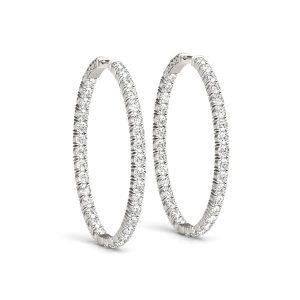 Thin Diamond Hoop Earrings White Gold
