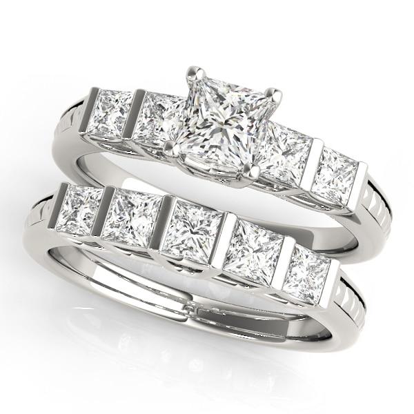 Diamond Engagement Ring Princess Cut Side Stones