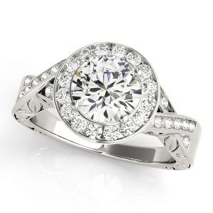 Diamond Halo Engagement Ring with Twisted Shank White Gold Front